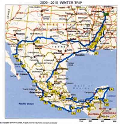 Map of our 2009 motorhome trip in Mexico